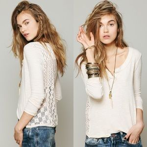 Free People Patches of Lace Henley Top